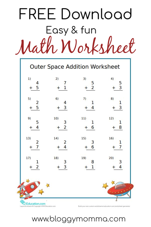 Easy And Fun Outer Space Themed Math Worksheet! Bloggy Momma