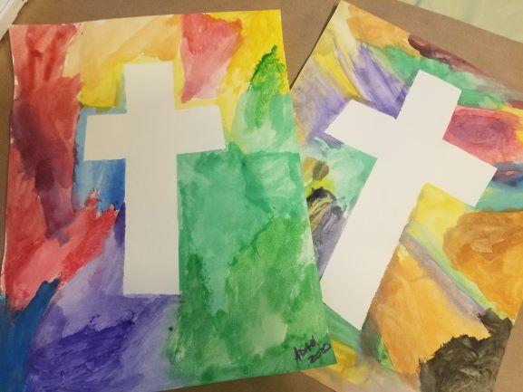Watercolor resist easter cross